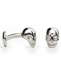 Silver-tone steel skull fixed cufflinks