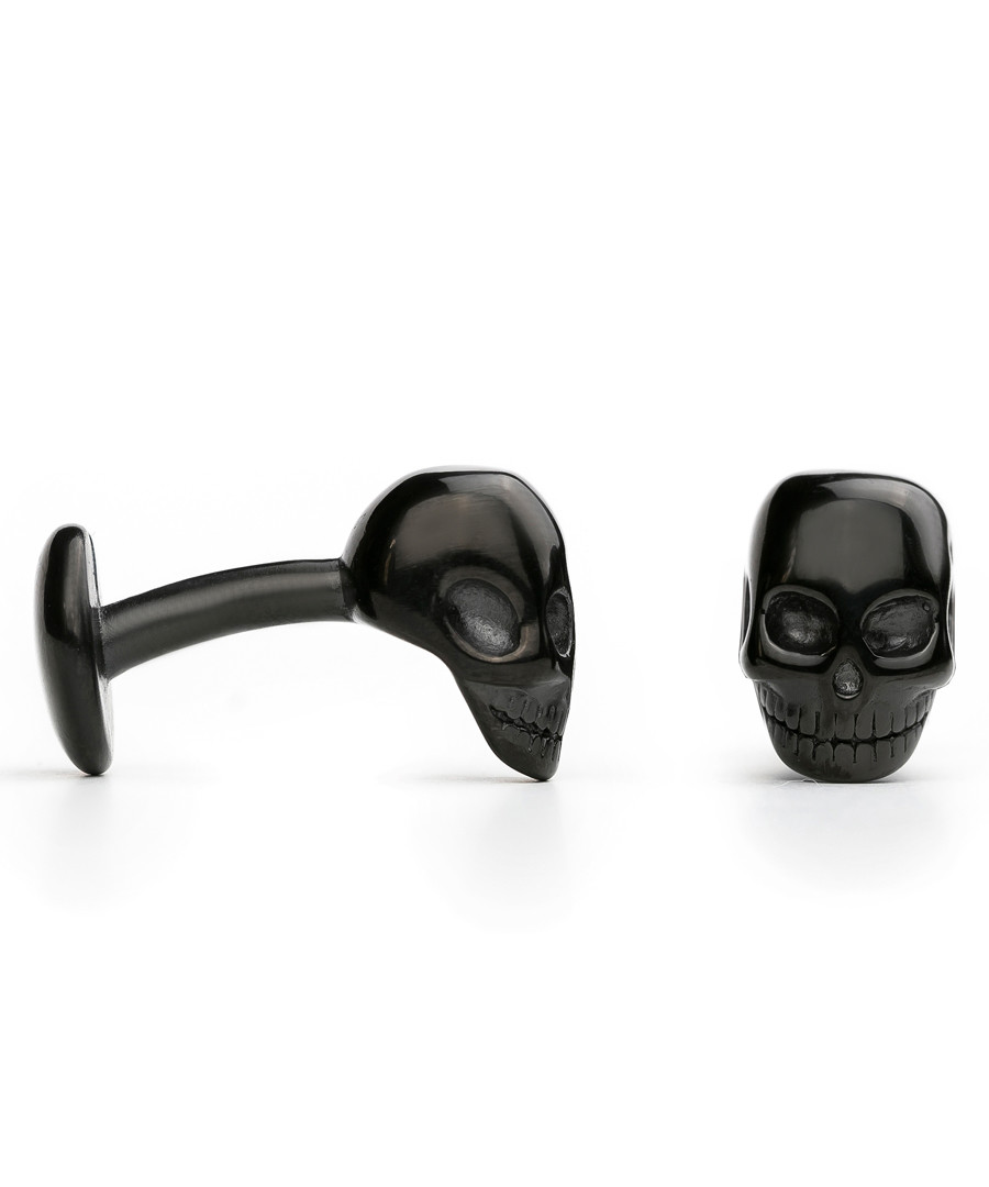 Black steel skull fixed cufflinks Sale - monomen