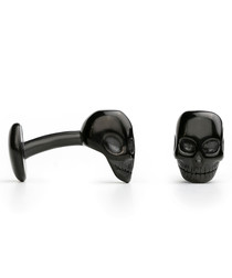 Black steel skull fixed cufflinks