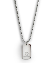 Silver-tone steel tag necklace