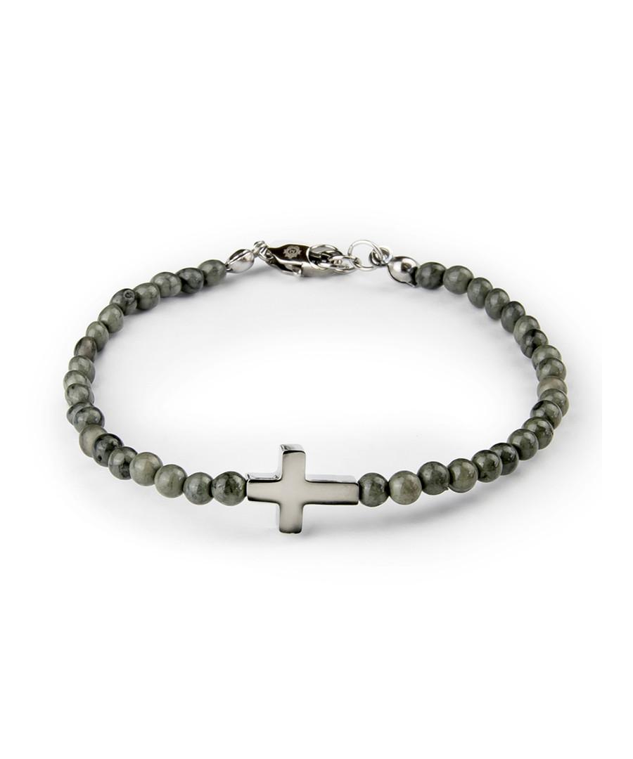 Grey jasper cross beaded bracelet Sale - monomen
