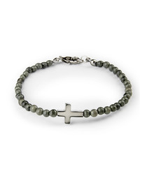 Grey jasper cross beaded bracelet