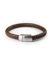 Brown nappa leather braided bracelet