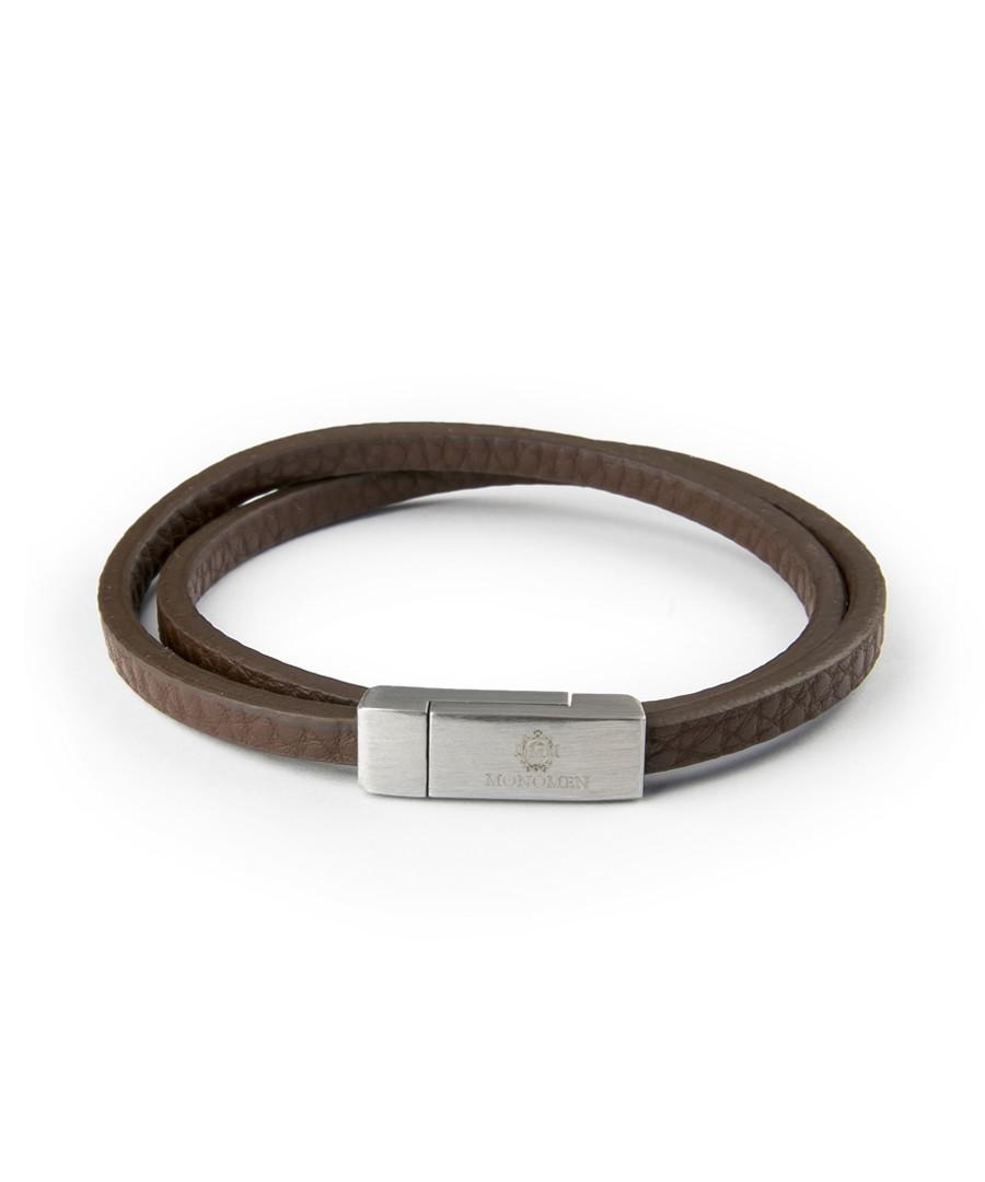 Brown nappa leather wrap bracelet Sale - monomen