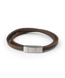Brown nappa leather wrap bracelet