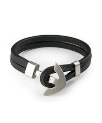 Black nappa & steel anchor bracelet