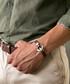 Brown nappa & steel anchor bracelet Sale - monomen Sale