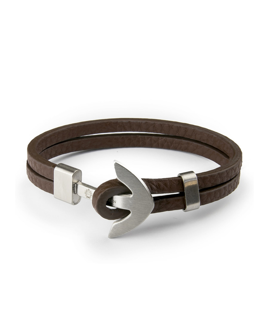 Brown nappa & steel anchor bracelet Sale - monomen