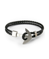 Black nappa braided anchor bracelet