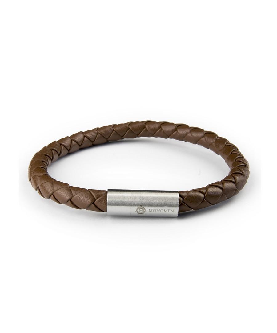 Brown nappa braided bracelet Sale - monomen