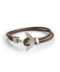 Brown nappa braided anchor bracelet