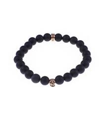 Matte black onyx beaded bracelet