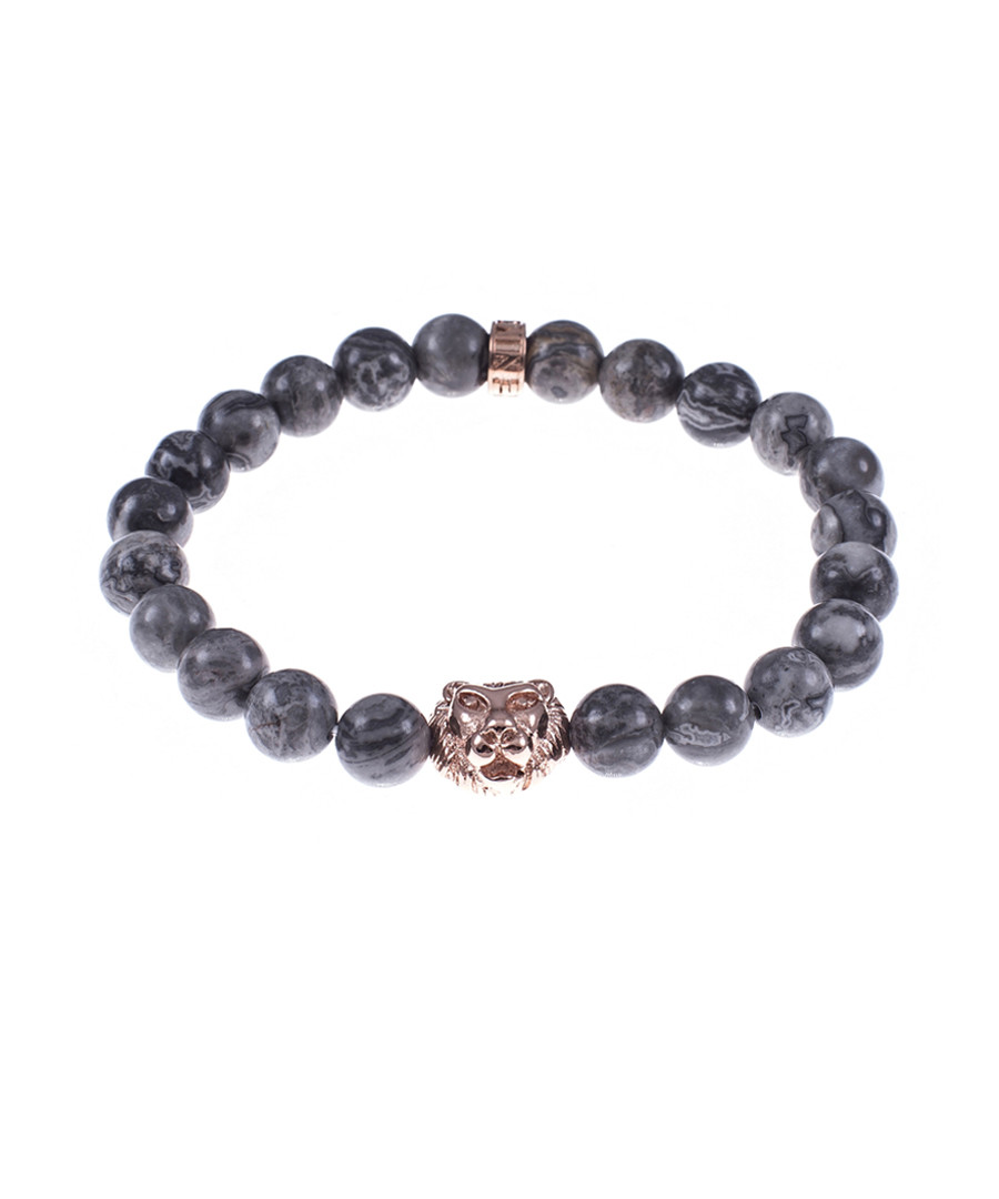 Grey jasper tiger beaded bracelet Sale - monomen