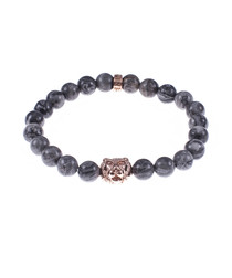 Grey jasper tiger beaded bracelet