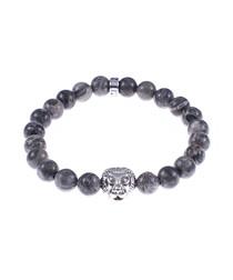 Grey jasper tiger beaded bracelet
