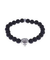 Matte black onyx tiger beaded bracelet