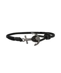 Black nappa anchor bracelet