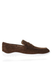 Men's brown suede loafers