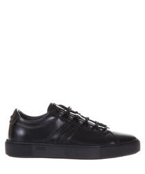 Men's black leather monogram sneakers