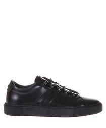 Men's black leather monogram sneakers