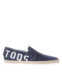 Men's blue cotton slip-on shoes