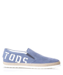 Men's sky blue cotton slip-on shoes