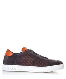 Men's grey & orange suede sneakers