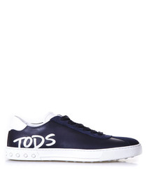 Men's blue leather logo lace-up sneakers