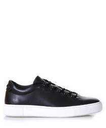 Men's black leather lace-up sneakers