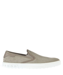 Men's taupe suede slip-on shoes