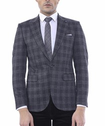 grey check single breasted blazer