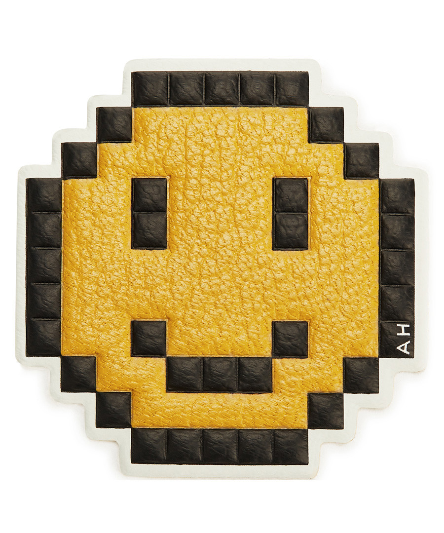 Smiley mustard leather patch Sale - anya hindmarch