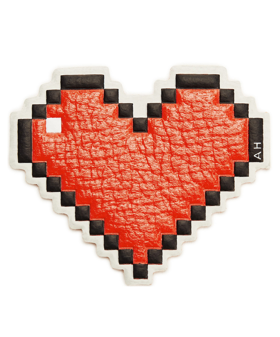 Heart flame red leather patch Sale - anya hindmarch