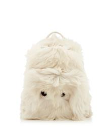 Mini Eyes white shearling backpack