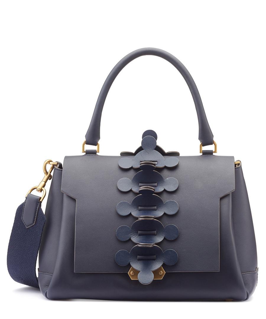 Apex Small indigo leather satchel Sale - anya hindmarch