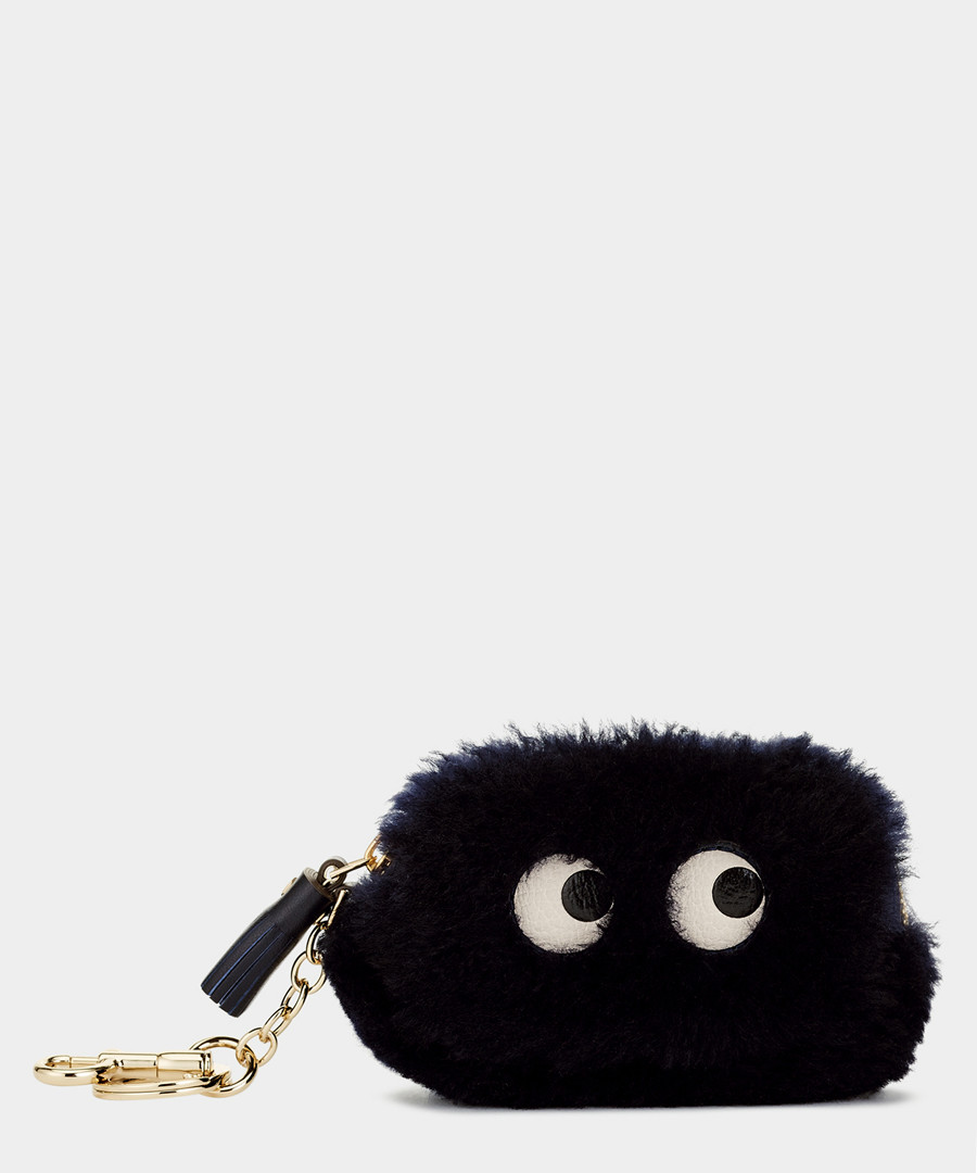 Eyes ink shearling coin purse Sale - anya hindmarch