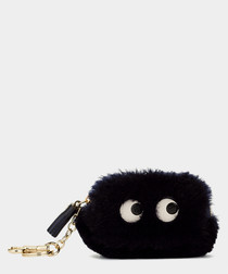 Eyes ink shearling coin purse