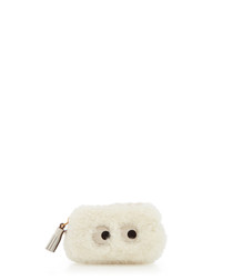 Eyes white shearling coin purse