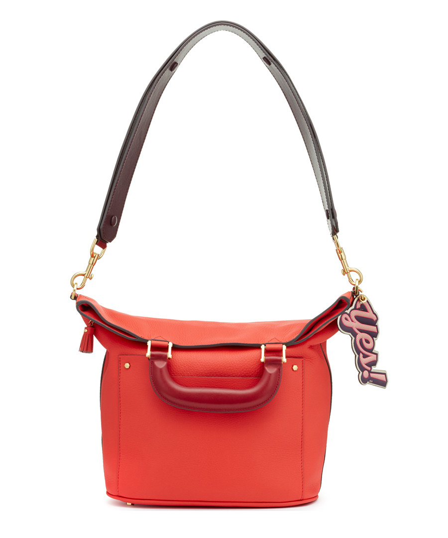 Orsett Small orange leather grab bag Sale - anya hindmarch