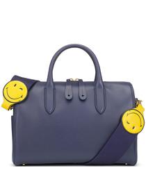Wink indigo leather grab bag