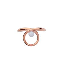 Serpentine 18kt rose gold-vermeil ring