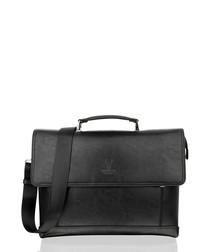 Black leather flap briefcase