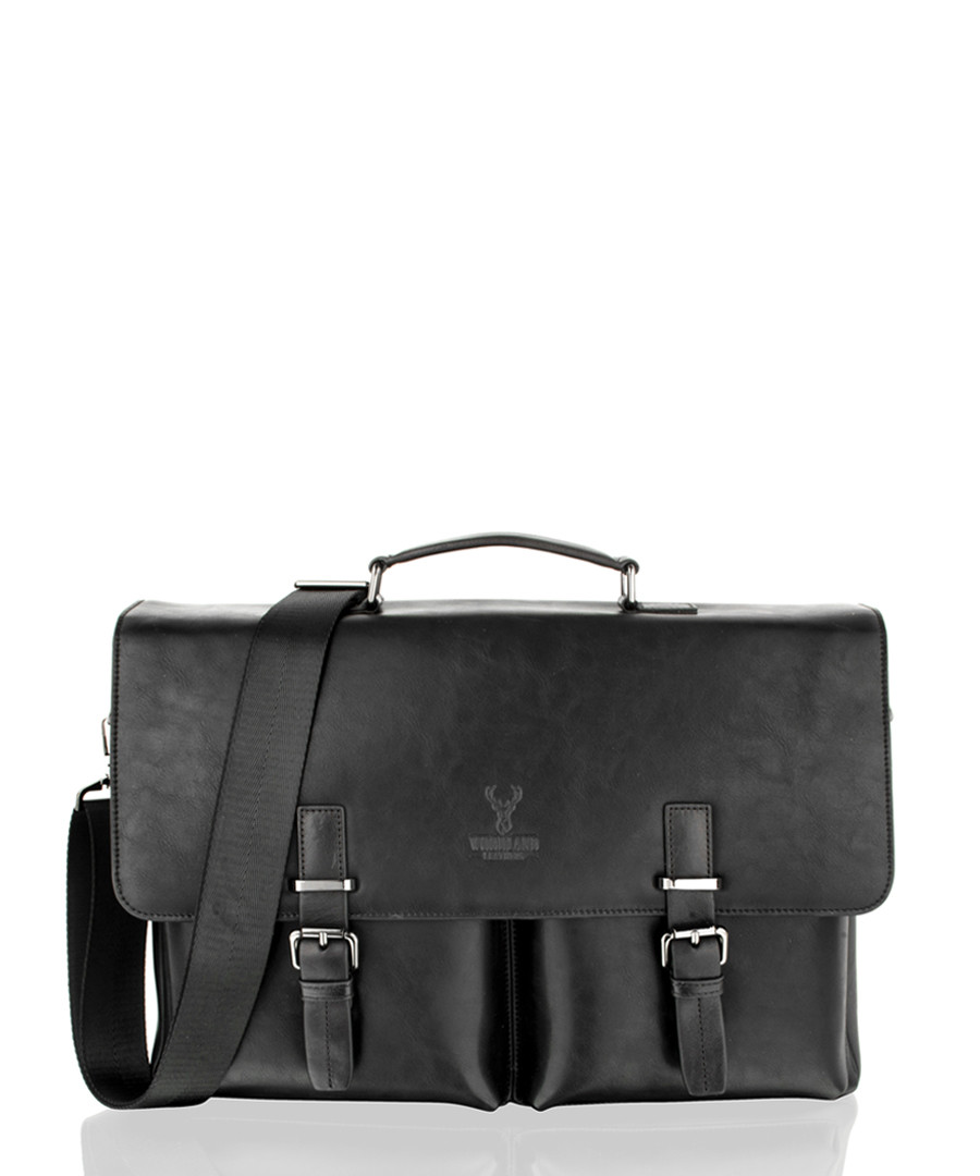 Black leather satchel briefcase Sale - woodland leather
