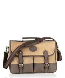 Brown canvas & leather satchel briefcase
