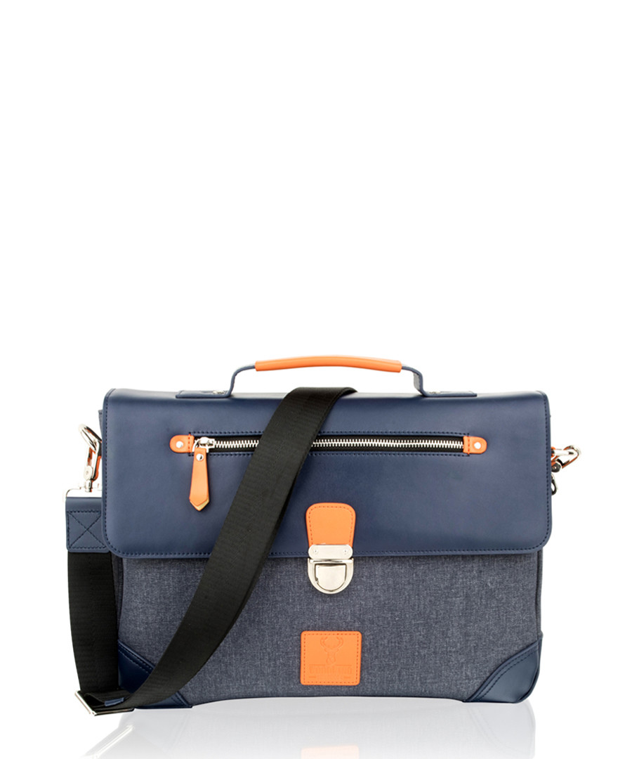 Navy canvas & leather flap briefcase Sale - woodland leather