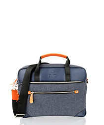 Navy canvas & leather briefcase