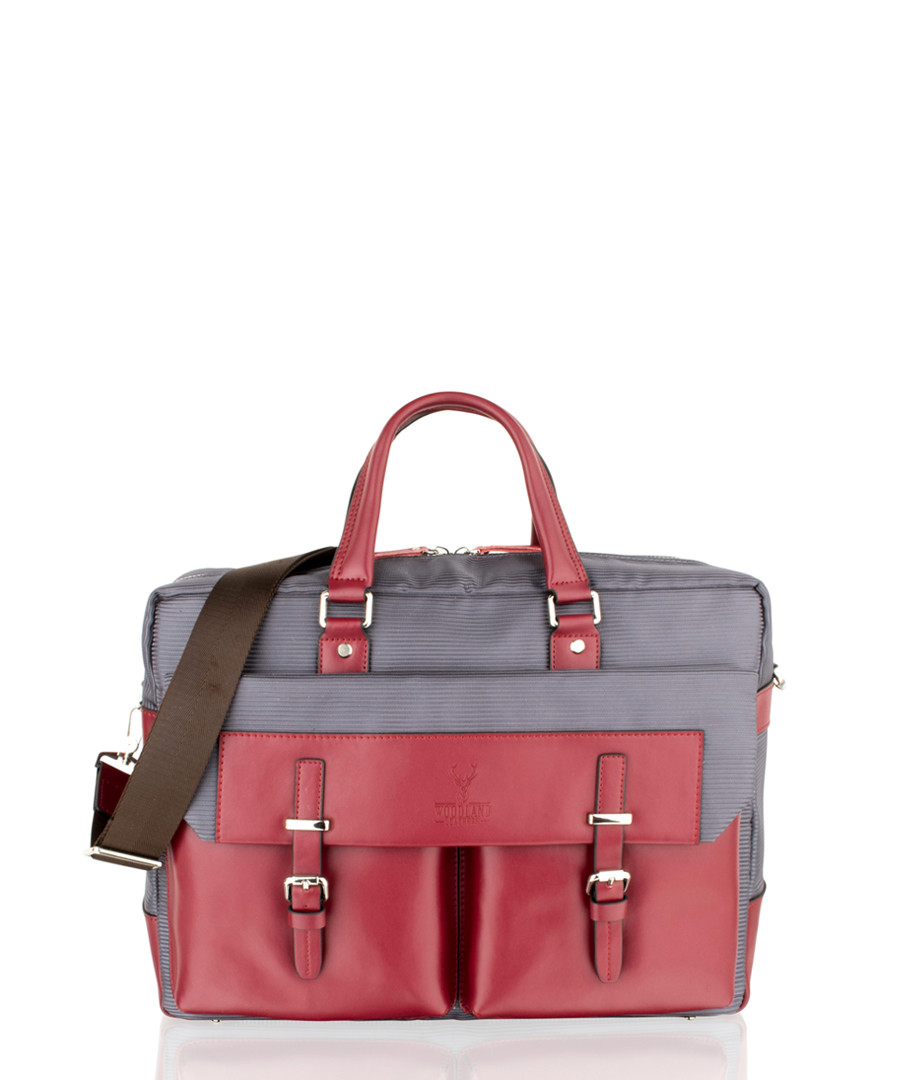Wine leather & canvas satchel briefcase Sale - woodland leather