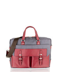 Wine leather & canvas satchel briefcase