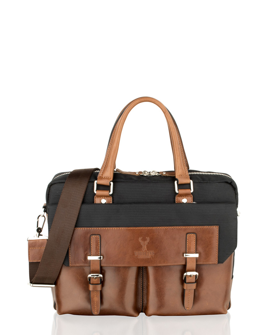 Brown & black leather briefcase Sale - woodland leather