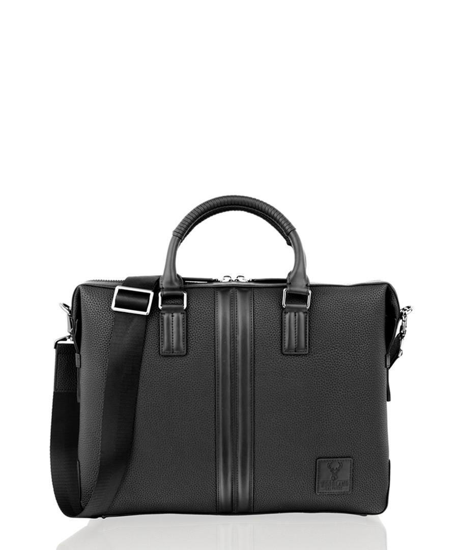 Black leather briefcase Sale - woodland leather